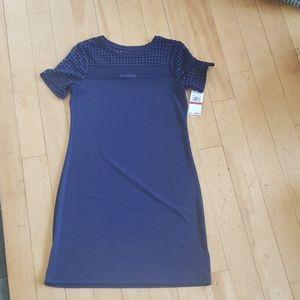 Short sleeve mesh combo dress